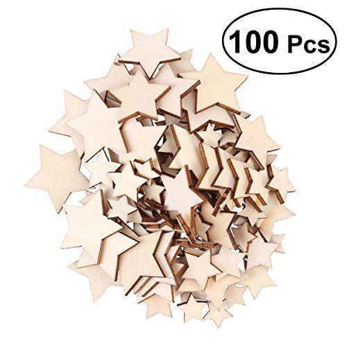Unfertigen Holz-stücke (ROSENICE 100 STÜCKE Holz Stern Deko Basteln Holzscheiben für DIY Handwerk Hochzeit Party Dekor (1,5 cm, 2 cm, 3 cm, 3,5 cm Sortierte Größe))