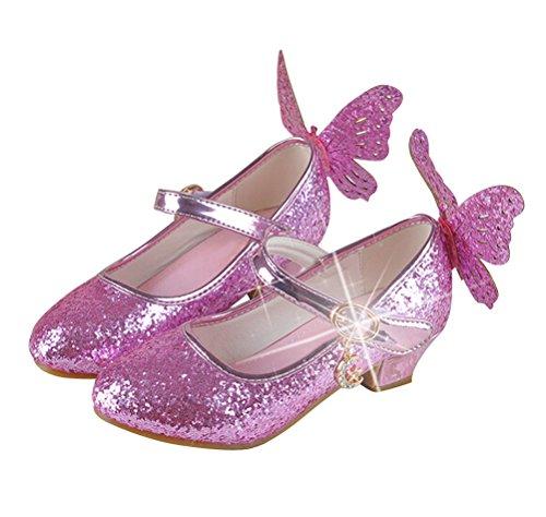 Brinny Mädchen Prinzessin Schuhe Glitter Paillette Kostüm Ballerinas Heels Schuhe Schmetterling Pumps festliche Hochzeit, Pink - 28