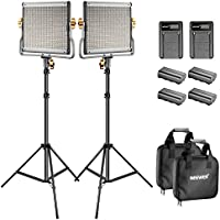 Neewer Bi-color LED 480 Video Light and Stand Kit with Battery and Charger for Studio, YouTube Video Shooting, Durable Metal Frame, Dimmable with U Bracket , 3200-5600K, CRI 96+ (2 Pack)