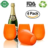 Wolecok Unbreakable Foldable Silicone Wine Glasses Melamine Mugs Teeth Cups Teeth mugs Coffee Mugs Stemless Drinking Cups12 Oz (4 Pack, Orange)