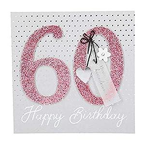Depesche 8211.007Tarjeta de felicitación Glamour con Ornamento y Purpurina, 60cumpleaños