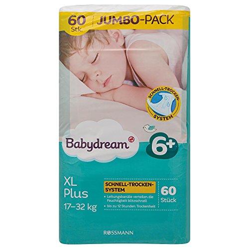babydream XL Plus Windeln Jumbo Pack 60 Stück Größe 6+, 17-32 kg, Schlaf-Gut-Vlies, superdünne Passform, bis zu 12 Stunden sicher