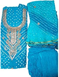 SRK Creation Women's Art Silk Bandhej Dress Meterial With Gota Patti Work Dupatta With Crepe Bottom (SR-401_Sky...