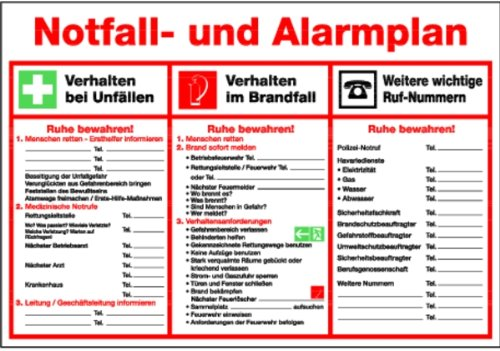 Schild Kunststoff Notfall- und Alarmplan 410x595mm (Erste Hilfe, Rettungsschild) praxisbewährt, wetterfest