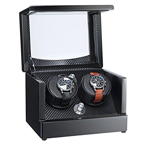 aublan Holz Doppel Automatische Uhrenbeweger Aufbewahrungsboxen für 2Uhren mit LED-Licht (Licht Aufbewahrungsbox)