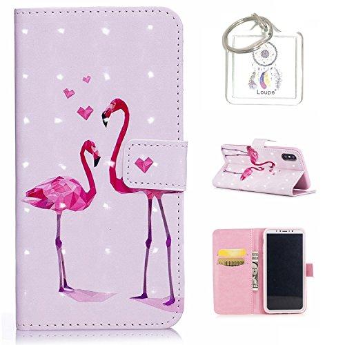Preisvergleich Produktbild für iPhone X Hülle, Retro 3D Muster PU Leder Hülle Wallet Case Folio Schutzhülle in mit Standfunktion Karteneinschub und Etui Flip Case Schutzhüllen +Schlüsselanhänger (P) (5)