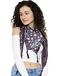 I AM FOR YOU Purple Silk Printed Scarves For Women & Girls