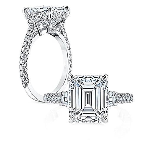 Gnzoe Schmuck Damen 925 Sterling Silber Ringe Rechteck Form Poliert Antiallergen Solitärring Heiratsantrag Ring Silber mit Zirkonia Gr.62 (19.7)