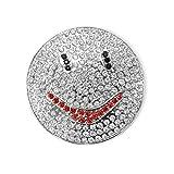 Smily Magnet Brosche mit Strass Rund Ponchohalter Schalhalter Farbe Silber