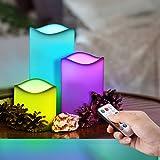 VICTSING Lot de 3 Bougies LED à Piles Couleurs Changeantes avec Télécommande et Minuteur Bougie Electrique Réaliste et Lumineuse Lampe d'ambiance parfait pour Votive, Decoration de Mariage, etc.