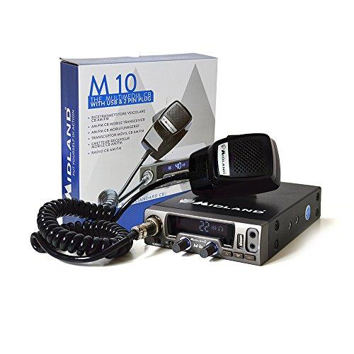 Midland M10 CB-Funkradio, Multi-Norm, mit AM/UKW, USB-Anschluss, Automatic Digital Squelch, Schwarz