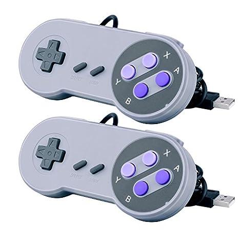 Quimat 2 x Manette de Jeu SNES USB Gamepad Retro Super Nintendo SNES Classique USB Jeu Vidéo Joypad Gamepad pour Windows PC / MAC / Raspberry Pi