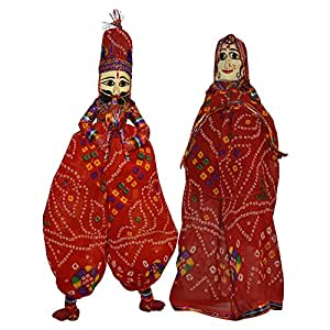 DronaIndia Handcrafted Colorful Wooden Face String Puppet Kathputli in Pair
