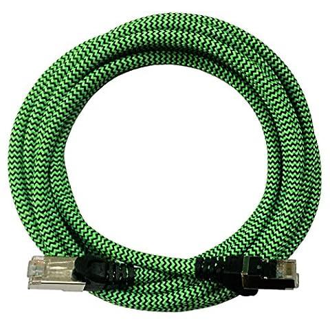 [i!®] 1m Premium Nylon Design Cat6 - Cat.6 Gigabit Ethernet LAN Netzwerkkabel | Internetkabel | DSL Kabel | Patchkabel | Lan-Kabel | RJ45 Stecker | 10/100/1000Mbit/s | kompatibel mit Cat5 und Cat7 | grün