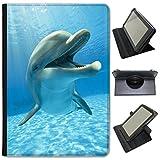 Fancy A Snuggle Dauphins Simili Cuir Folio Presenter Coque Sac avec Support de visionnage pour tablettes Samsung Samsung Galaxy Tab S2 9.7 inch Smiling Cute Dolphin
