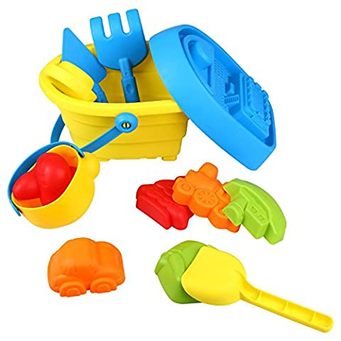 Peradix Beach Sand Toys Deluxe Set with Bucket and Transportation