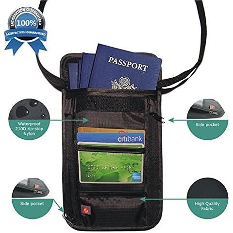 Organizador y Portador de Documentos de Viaje - Cartera de Nylon para Sujetar en el Cuello con tecnología de bloqueo Rfid para protección de sus tarjetas y