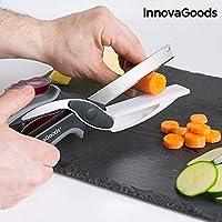 InnovaGoods IG812881 Cuchillo-Tijera con Mini Tabla de Cortar Integrada, Negro y Gris
