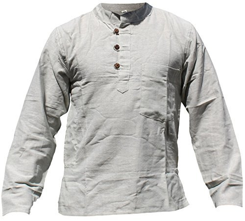 SHOPOHOLIC FASHION Herren Button-down Freizeit-Hemd Erdig Weiss