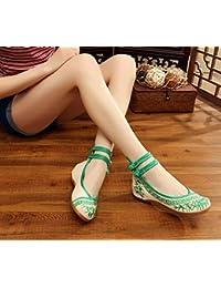 Chnuo Feine Frühling Sommer damen bestickte schuhe aus china Sehnensohle ethnischer Stil weibliche Schuhe Mode bequem Segeltuchschuhe black 39