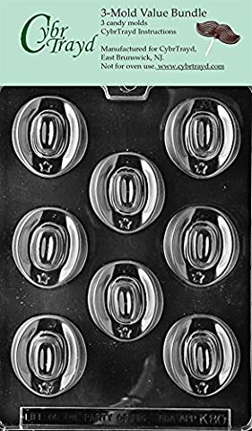CybrTrayd K080-3BUNDLE Cowboy Hats Chocolate Candy Mold with Exclusive Copyrighted Chocolate Molding Instructions