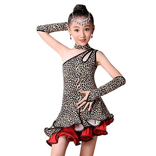 Lonshell Mädchen Latin Kleid Tanz Kostüm 4-teiliges Set Leopard Tanzkleid mit Leggings Halskette Ärmel Salsa Tango Rumba Tanzkostüm Performance Kleidung für 2-13 Jahre Kinder (Tanz Performance Kostüm Kinder)