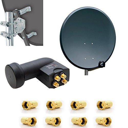 PremiumX Digital HD SAT Anlage 80cm Stahl Schüssel Spiegel Antenne Anthrazit Quad LNB 4K 0,1 dB...