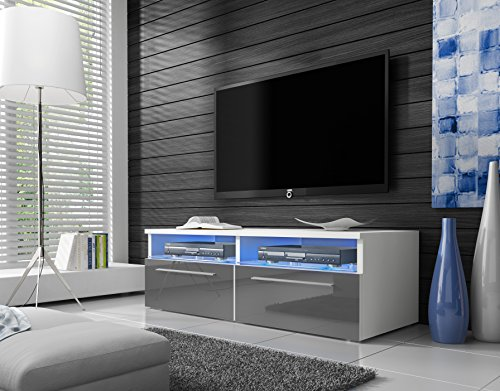 Siena - Meuble TV (100 cm, Blanc mat / Fronts Gris Brillant avec LED Bleue)
