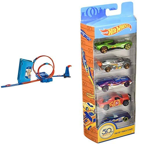Hot Wheels FLK90 - Track Builder Stunt Builder Super Multi Looping Box &  Wheels 01806 5er Pack 1:64 Die-Cast Fahrzeuge Geschenkset