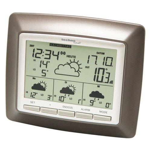Technoline, WetterDirekt Wetterstation WD 4008 mit Innen-/ Außentemperaturanzeige, Wettervorhersage für 4 Tage und Wetterdaten für über 50 Regionen