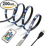 Diyife 2M 60 LEDs Retroiluminación de TV 5050 RGB Bias Iluminación para HDTV de 40-60 pulgadas, USB LED Rayas Multi Color LED Neon Accent Lighting Kit