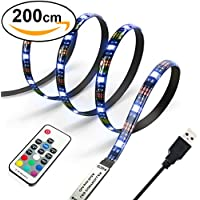 Diyife 2M 60 Leds Retroiluminaci¨®n de TV 5050 RGB Bias Iluminaci¨®n para HDTV de 40-60 Pulgadas, USB LED Rayas LED Neon Accent Lighting Kit