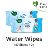 Mother Sparsh 98% Water Wipes (80 Scented Baby Wipes, Pack of 2) - Plant Based Fabric