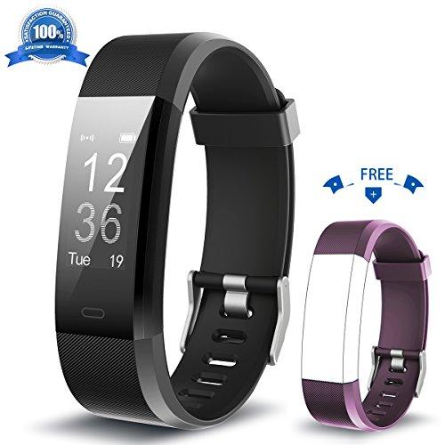 HolyHigh Fitness Armband YG3 Plus HR Pulsuhr Aktivitätstracker mit Herzfrequenz Monitor/wasserdichter /Schrittzähler/Anrufbenachrichtigungen/Ruhemodus/Kamerabedienung für Android und iOS (Black+Purple)