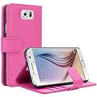 Samsung Galaxy S6 Hülle, EnGive Ledertasche Schutzhülle Case Tasche mit Standfunktion und Karte Halter Rosa