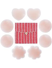Rovtop 4 Paare Nipple Cover Nippel-Abdeckungen Selbstklebend & Wiederverwendbar Herz-Shaped Blume-Shaped Rundschreiben-Shaped mit Einer Baumwollaufbewahrungstasche