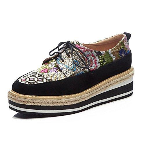 KJJDE Plateauschuhe Damen Creepers Schuhe WSXY-A1423 Mode-Muster-Stickerei Keilabsatz Schuhe, Schwarz, 34