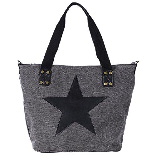 DonDon Canvas Tasche grau mit großem Stern Shopper Henkeltasche mit Schultergurt und Reißverschluss im Vintage Look 43 x 30 x 17 cm Grau-Schwarz