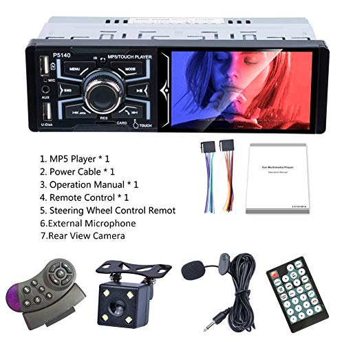mildily Autoradio Radio4.1 Zoll Touchscreen Autoradio Bluetooth Unterstützung Rückfahrkamera USB Head Unit MP5 Player Versenkbarer Touchscreen (Usb-head-unit)