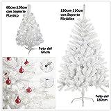 Árbol de Navidad artificial árboles C/Soporte metálico 120-210cm (Blanco, 180cm 477Tips)