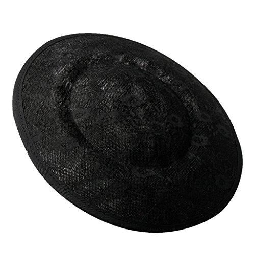 Floppy Kostüm Schwarzen Hut - FITYLE Damen Mädchen Hut Base Fascinator Mütze Hüte mit Spitze Handwerk Kostüm Accessoires - Schwarz, 34 cm