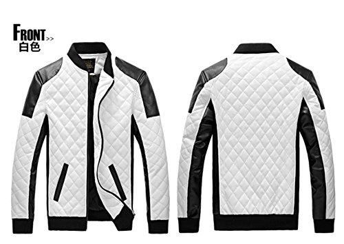 Junsi da uomo appendiabiti nero/bianco in pelle PU colletto moto giacca plaid colore bianco taglia XXL