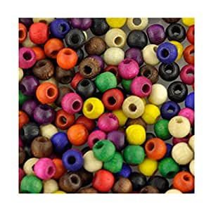 4 mm Perles en bois Couleurs assorties Lot de 1000