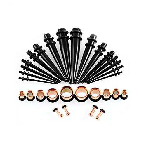 WANGGANG Ohr-Dehnungs-Kit, 14g-00g von Acryl + Edelstahl-verjüngt und Stecker + Silikon-Tunnel-ohrmessgeräte Expander setzen Body Piercing Schmuck, 36 Stück,Pink