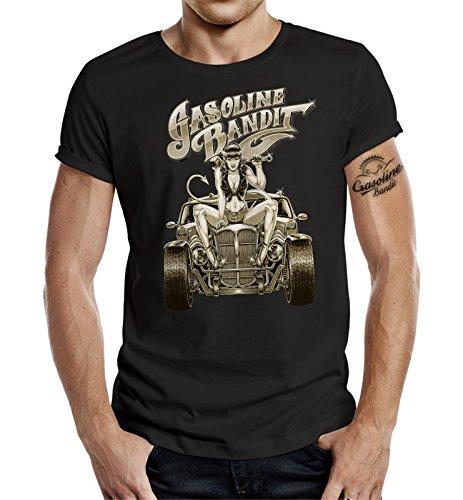 GASOLINE BANDIT® Hot Rod Biker T-Shirt: Hot Rod Pinup III Schwarz