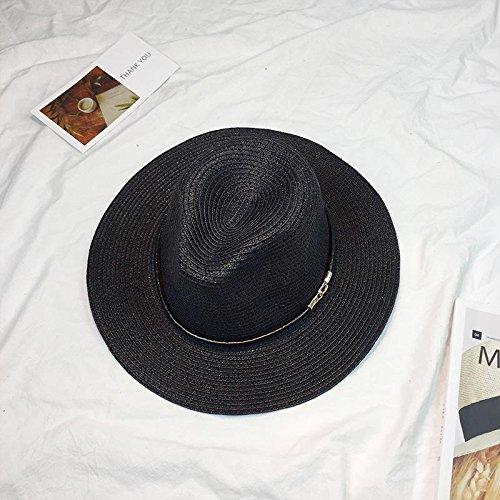 Brolux(TM) 1 PC Women's Sun Hat Leather Chain Straw Flat Wide Brimmed Black White Summer Hats For Women Beach Headwear Chapeau Female [Black ]