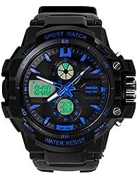 Reloj doble / deportes al aire libre de los hombres / reloj electrónico impermeable de la montaña / reloj multi-función del salto , large blue