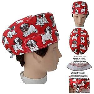 OP Haube, Carlinos Hunde, Chirurg, Zahnarzt, Tierarzt, Handtuch auf der Stirn, verstellbarer Spanner nach Ihren Wünschen