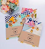 Set Of 4 Natural Beeswax Food Wrap, ecological replacement to plastick wrap, reusable, biodegradable, Handmade in Sunny Romney Marsh UK