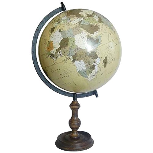 Better & Best Bola del Mundo, Grande de 30 cm, con pie de Madera Clara, Color Beige, 15.00x15.00x51.00 cm